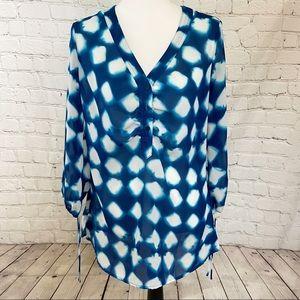 4/$25 Sunny Leigh blue white sheer long sleeve